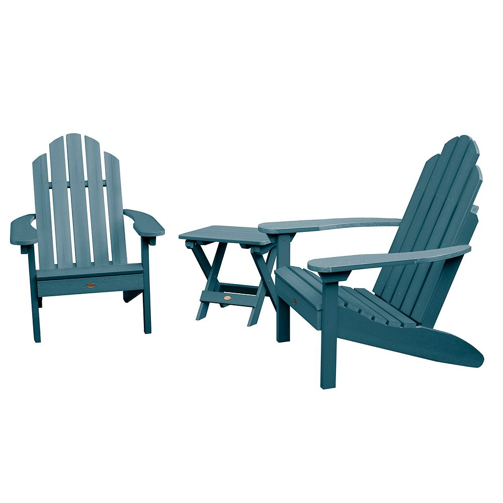 highwood Set of 2 Classic Westport Adirondack Chairs with Folding Side Table