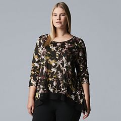 Plus Size Simply Vera Vera Wang High-Low Crinkle Top