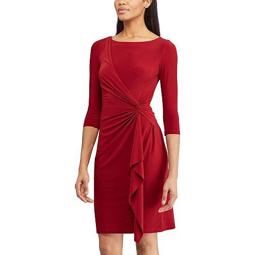 d18553e5b3 Women s Chaps Knot-Front Ruffle Sheath Dress