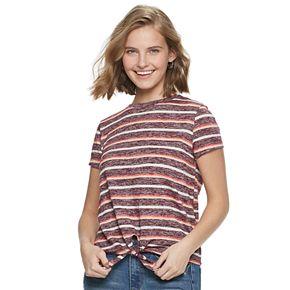 Juniors SO® Front Tie Short Sleeve Tee