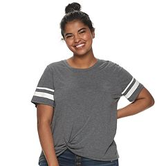 70fb6a51fbdcb Juniors' Plus Size SO® Twist Front Varsity Tee