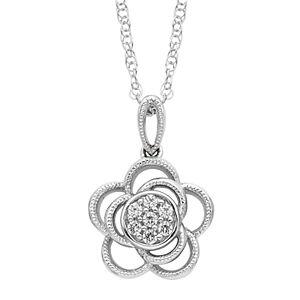 Boston Bay Diamonds 10 CT White Gold 1/10CT. T.W. Diamond Floral Pendant
