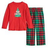 Boys 4-20 Jammies For Your Families Red Plaid Merry Christmas Family Tee & Pants Pajama Set