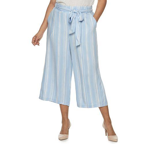Juniors' Plus Size Candie's® Wide-Leg Crop Pants