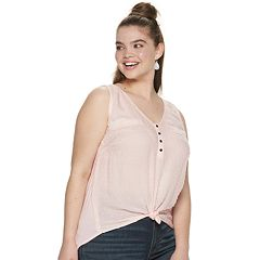 Juniors' Plus Size Candie's® Mixed Media Tank Top