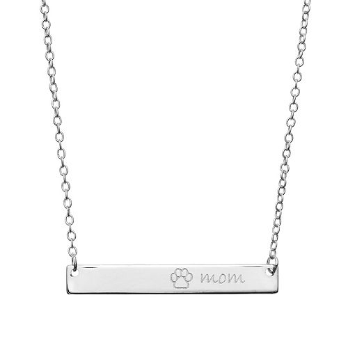 """""""Mom"""" Paw Print Bar Sterling Silver Necklace"""