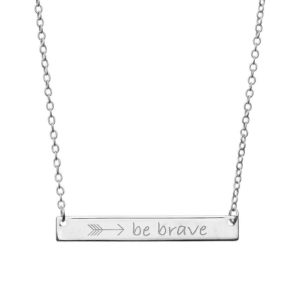 """Be Brave"" Sterling Silver Bar Necklace"