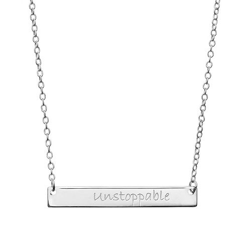"""""""Unstoppable"""" Sterling Silver Bar Necklace"""