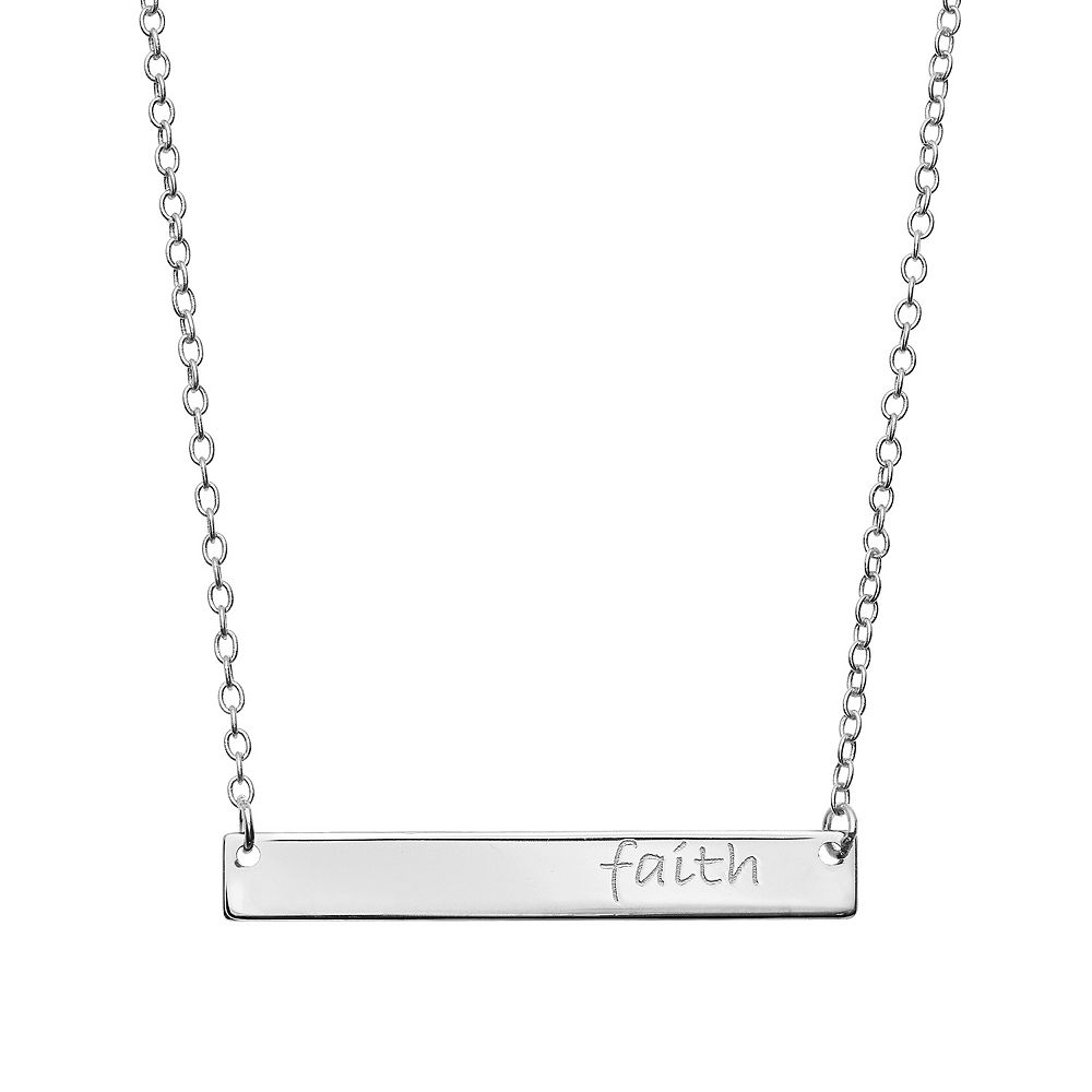 """""""Faith"""" Sterling Silver Bar Necklace"""