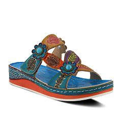 Womens L'Artiste By Spring Step Pillow Leather Slide Sandals