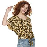 Juniors' Grayson Threads Knotted Front Animal Print Top
