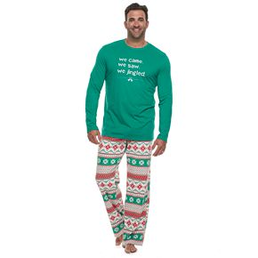 "Men's Big & Tall Jammies For Your Families ""We Jingled"" Top & Bottoms Pajama Set"