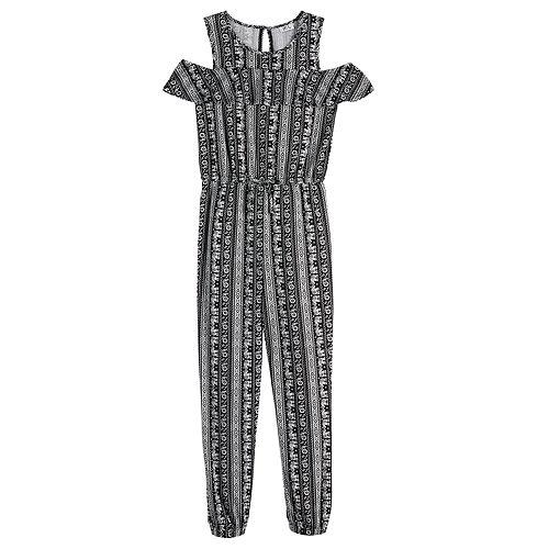 Girls 7-16 Joey B Cold-Shoulder Ruffle Jumpsuit