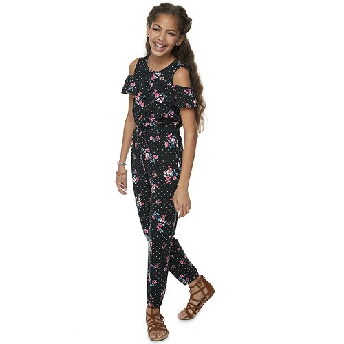 Girls 7-16 Joey B Floral Cold-Shoulder Ruffle Jumpsuit