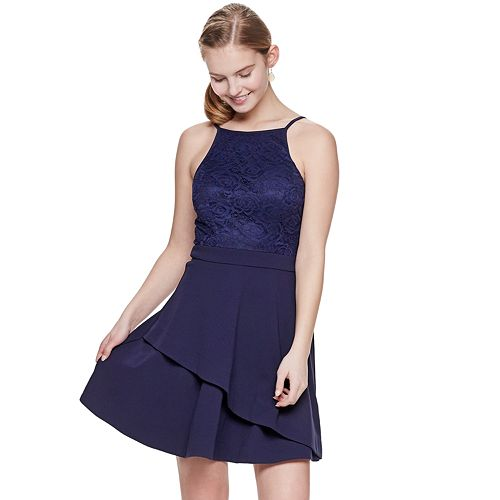 Juniors' Speechless Lace to Scuba Halter Dress