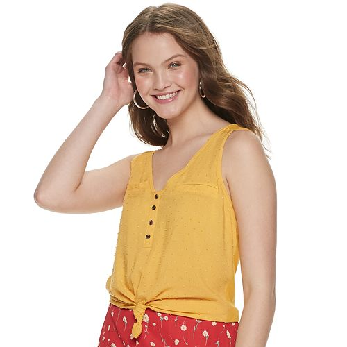 Juniors' Candie's® Mixed Media Button Up Tank Top