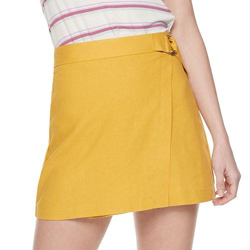 Juniors' Joe B Wrap Front Mini Skirt
