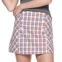 Juniors' Joe B Plaid Button Front Mini Skirt