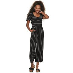 714d787014 Juniors  Rewind Striped Knit Jumpsuit. Navy Black