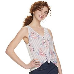 5dd8c4a06 Juniors' Candie's® Mixed Media Button Up Tank Top
