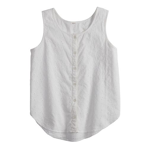 Girls 7-16 & Plus Size SO® Button Front Tank