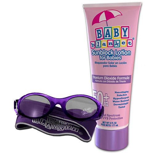 Baby Blanket Sunglasses And Sunblock Set - Pink