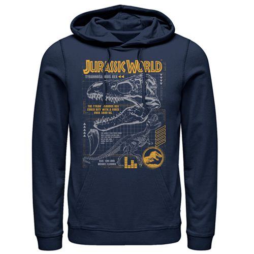 Men's Jurassic World Fallen Kingdom Blue Prints Pull-Over Hoodie