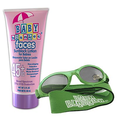 Baby Blanket Sunglasses and Sunblock Set - Green