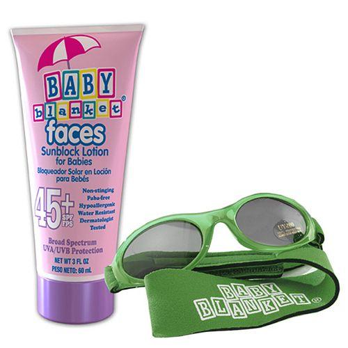 Baby Blanket Sunglasses And Sunblock Set - Blue