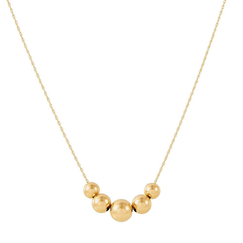 Everlasting Gold 14k Gold Graduated Bead Necklace