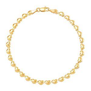 Everlasting Gold 10k Gold Stampato Heart Bracelet