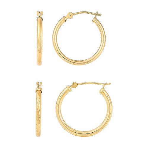 Everlasting Gold 10k Gold Tube Hoop Earrings