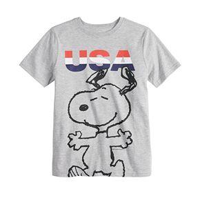 "Boys 8-20 Family Fun Peanuts Snoopy ""USA"" Graphic Tee"