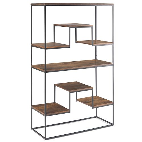 Simpli Home Byron Bookshelf - Light Walnut Brown
