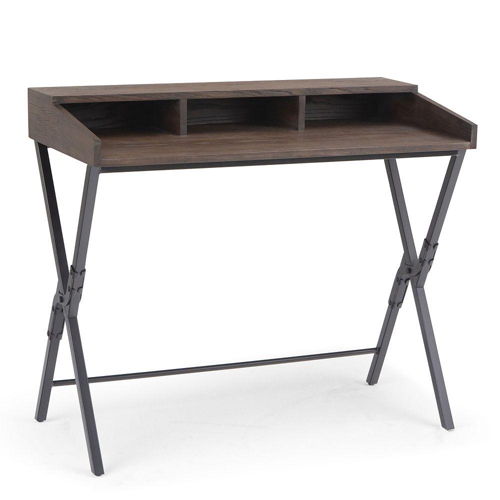 Simpli Home Chloe Scissor Desk - Dark Brown