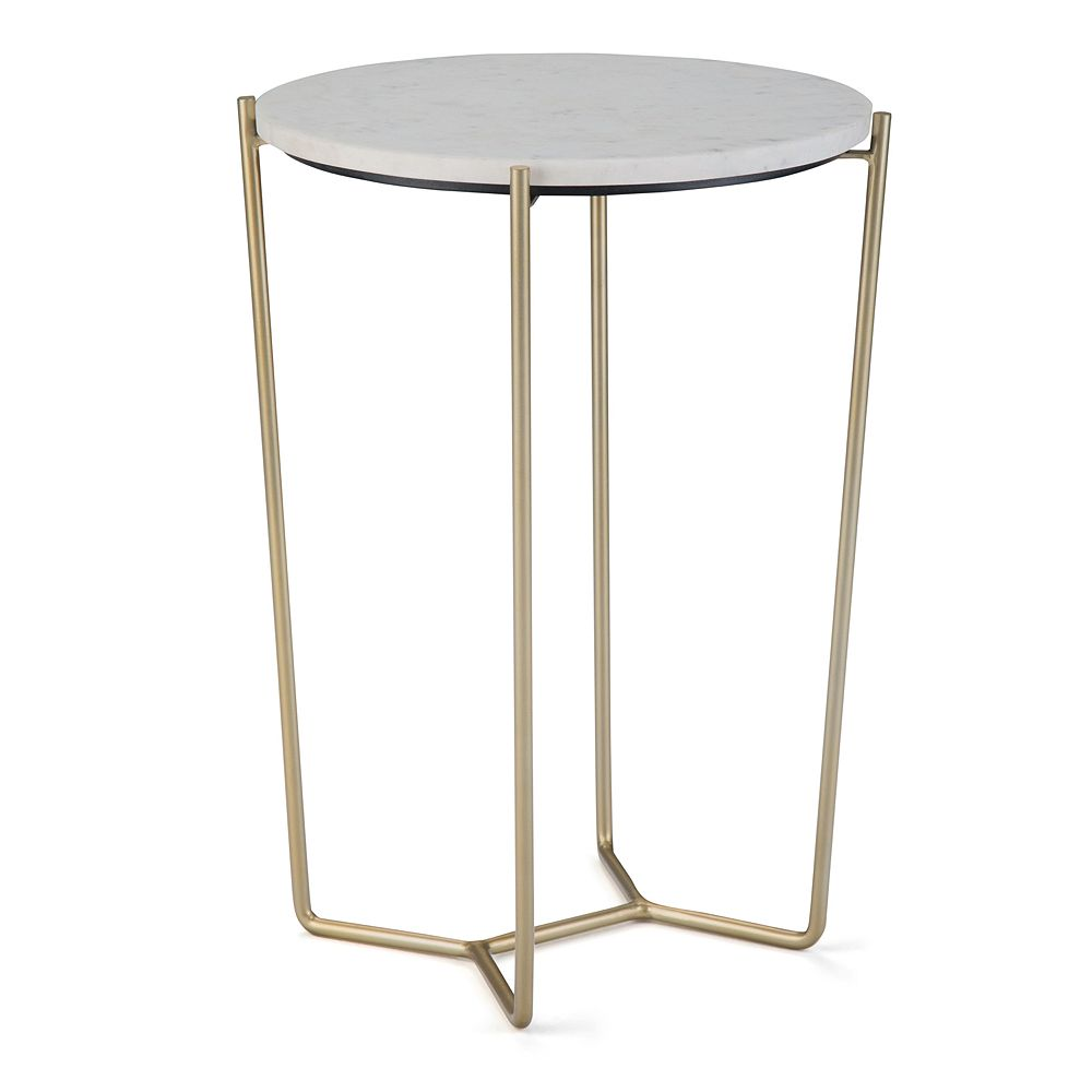 Simpli Home Dani Accent Table - White & Gold