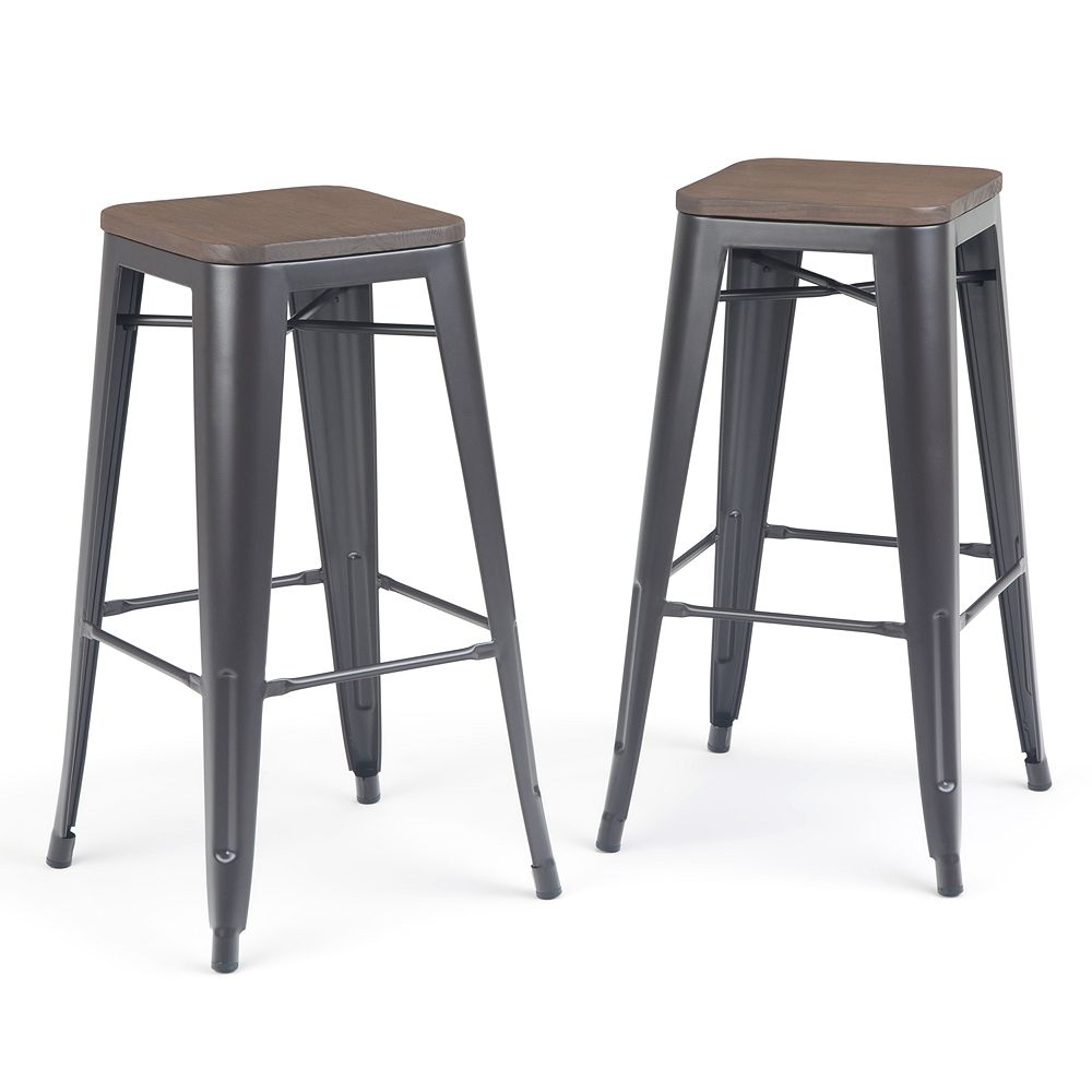 Simpli Home Everett Metal Bar Stool with Wood (Set of 2) - Cocoa Brown