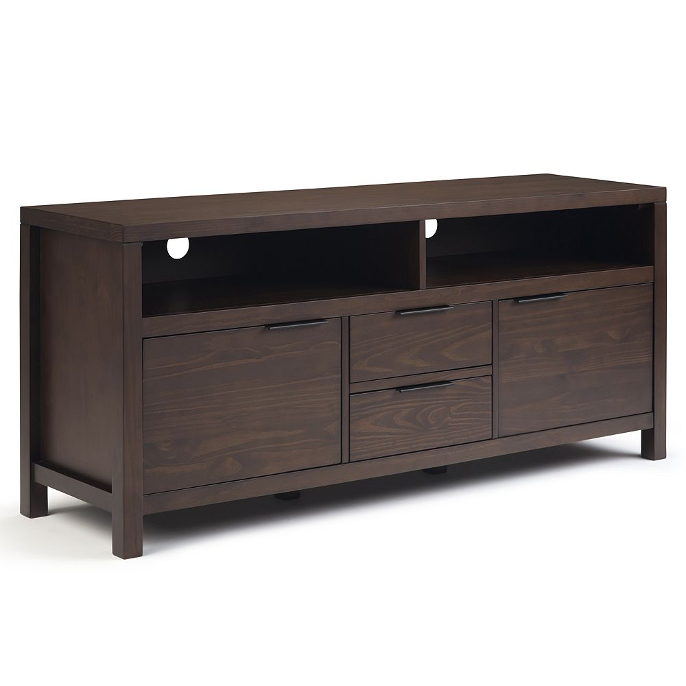 Simpli Home Hollander Solid Wood TV Stand - Warm Walnut Brown