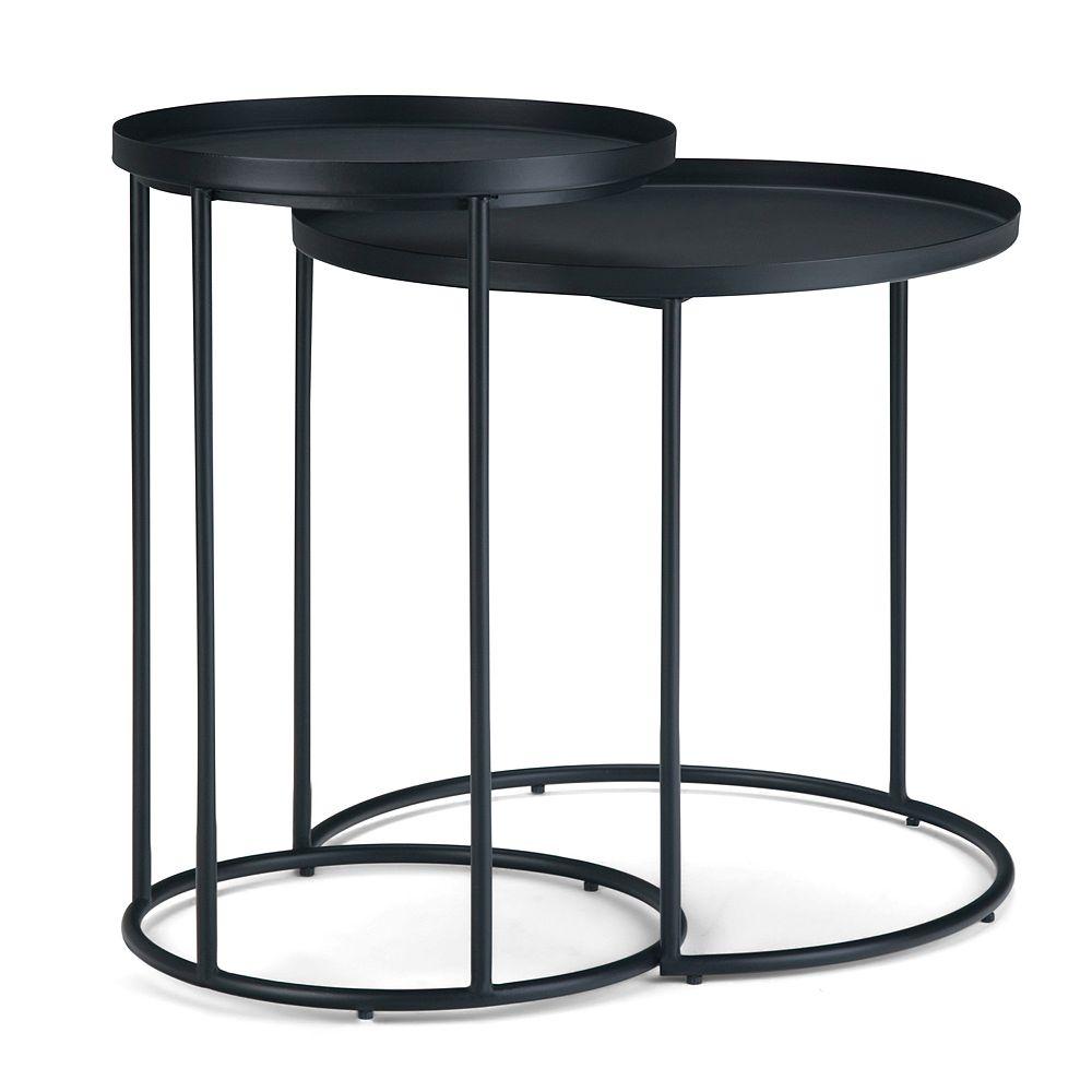 Simpli Home Monet Metal 2-Piece Nesting Table - Black