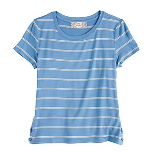 Girls 7-16 Pink Republic Printed Lace-Up Side Tee