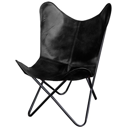 AmeriHome Natural Leather Butterfly Chair
