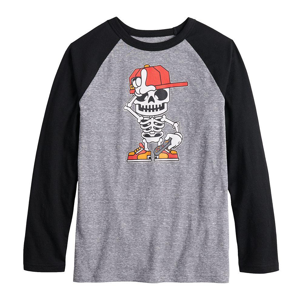 Boys 8-20 Skeleton Skater Dude Tee