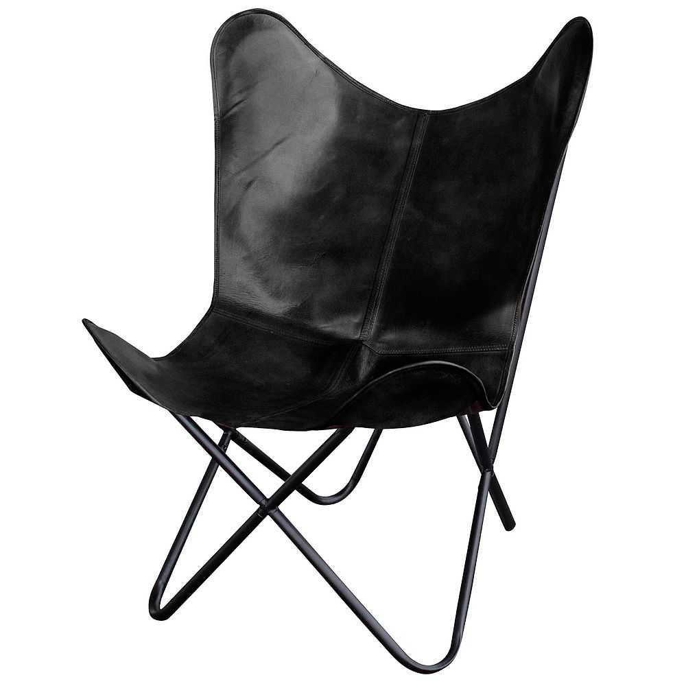 AmeriHome Leather Butterfly Chair 2-Piece Set