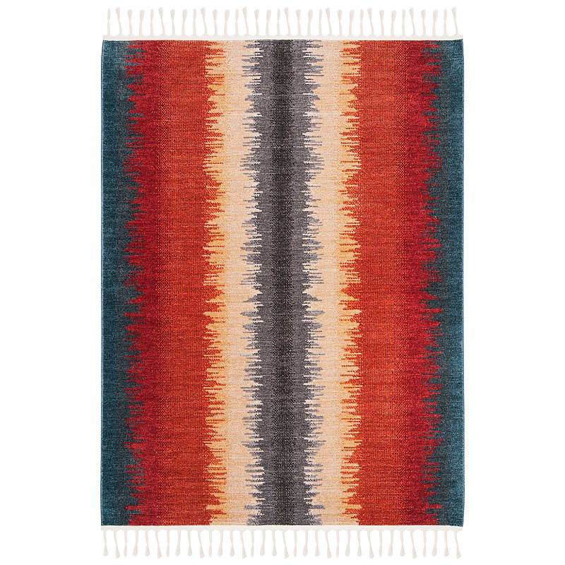 Freshen up your homestead with this inviting Safavieh Farmhouse Kelly rug. In navy/orange.FEATURES Durable loop pile CONSTRUCTION & CARE Polyester, cotton Transparent sprayed latex backing Pile height: 0.24\\\'\\\' Spot clean Imported Attention: All rug sizes are approximate and should measure within 2-6 inches of stated size. Pattern may also vary slightly. This rug does not have a slip-resistant backing. Rug pad recommended to prevent slipping on smooth surfaces. . Size: 8X10 Ft. Gender: unisex. Age Group: adult. Material: Polypropylene.