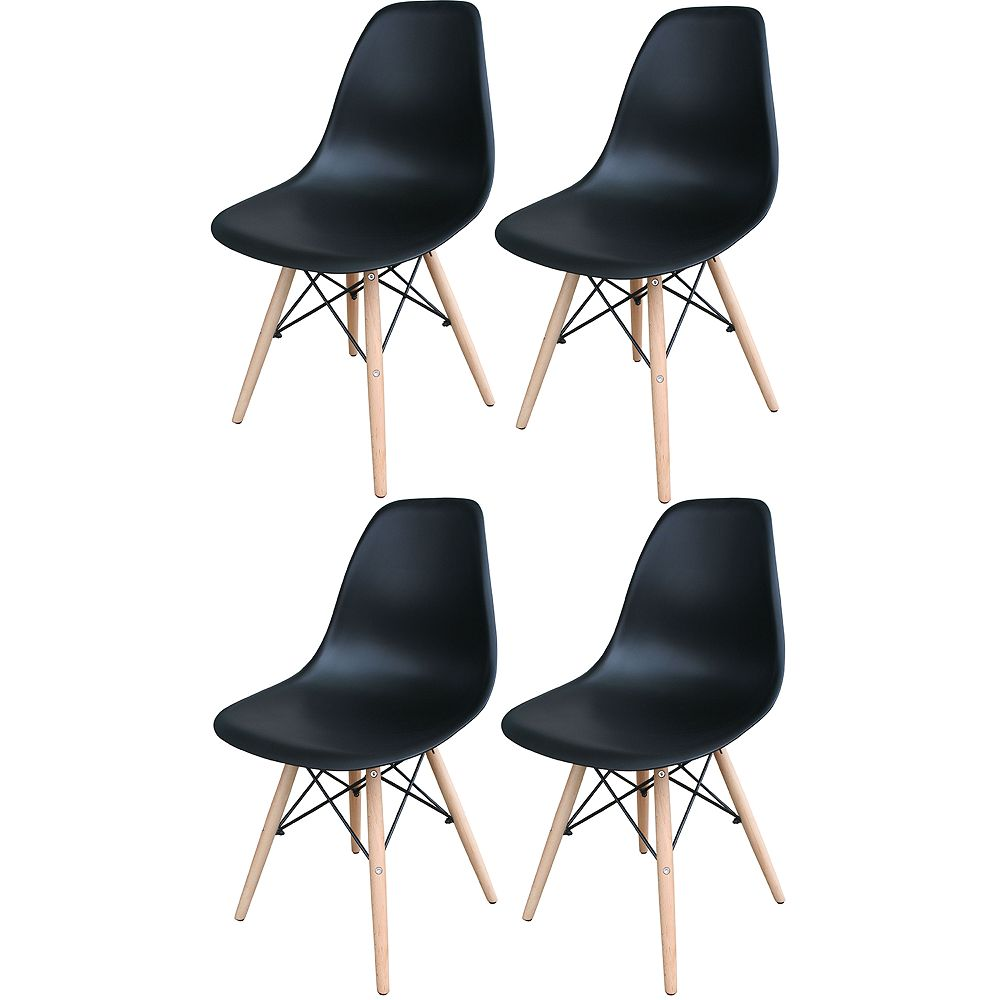 AmeriHome White Wooden Leg Accent Chairs 4-Piece Set