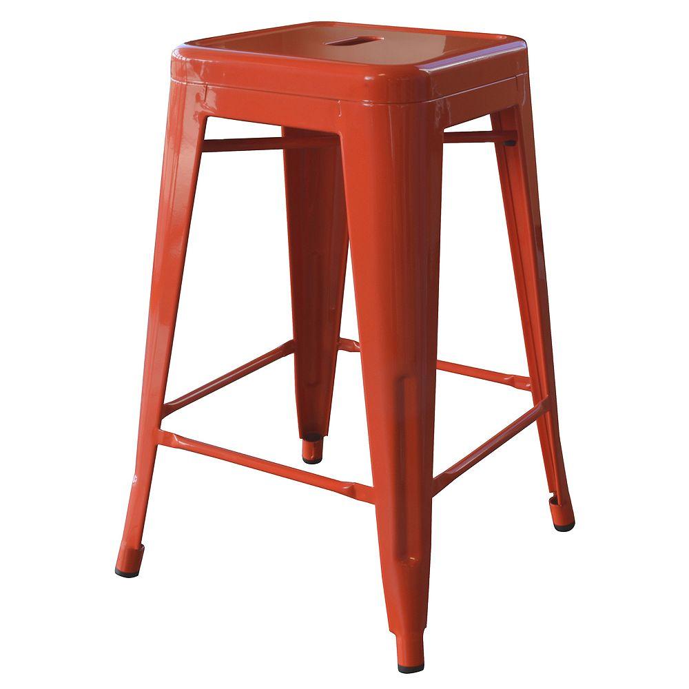 "AmeriHome Loft Orange 24"" Metal Bar Stool"