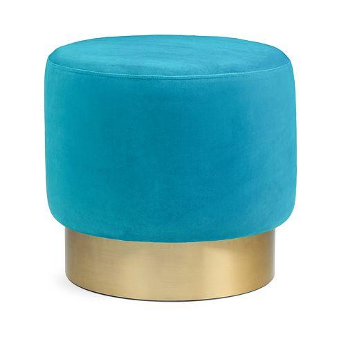 Simpli Home Bardoe Small Round Ottoman Footstool
