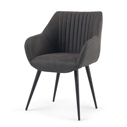 Simpli Home Briar Stitched Back Dining Side Chair - Faux Leather