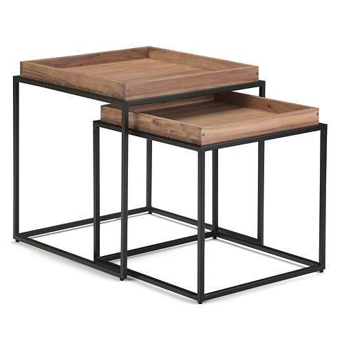 Simpli Home Carter 2-Piece Nesting Tray Top Table - Natural Acacia