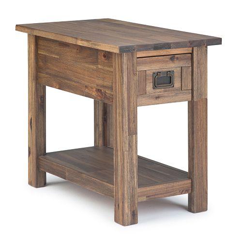 Simpli Home Monroe Solid Acacia Wood Narrow Side Table
